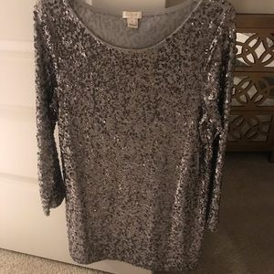 J Crew Silver Pewter Sequin Top 💎
